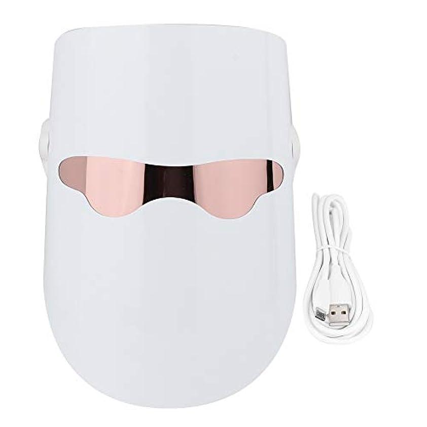 ひどいバドミントン作者3色フェイスマスクLEDフォトンフェイススキンケア保湿アンチエイジングタイトニングホワイトニング栄養吸収加熱肌若返り美容機