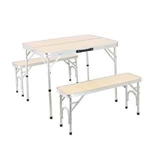 アルミテーブル チェアセット ナチュラル 2WAY ピクニック アウトドア ベンチ ALPT-90