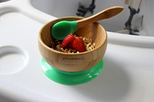 Baby and Toddler Feeding Bowl and Spoon - Natural Bamboo Bowl with Non-Toxic Silicon Suction Base for Solid Grip on Surfaces