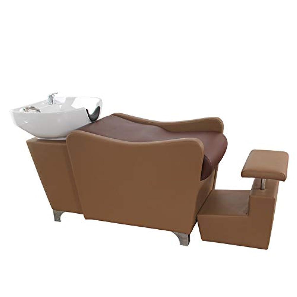 タイピストもろい幼児シャンプーチェア、理髪店の逆洗ユニットシャンプーボウル理髪シンクの椅子用スパ美容院機器(ブラウン)