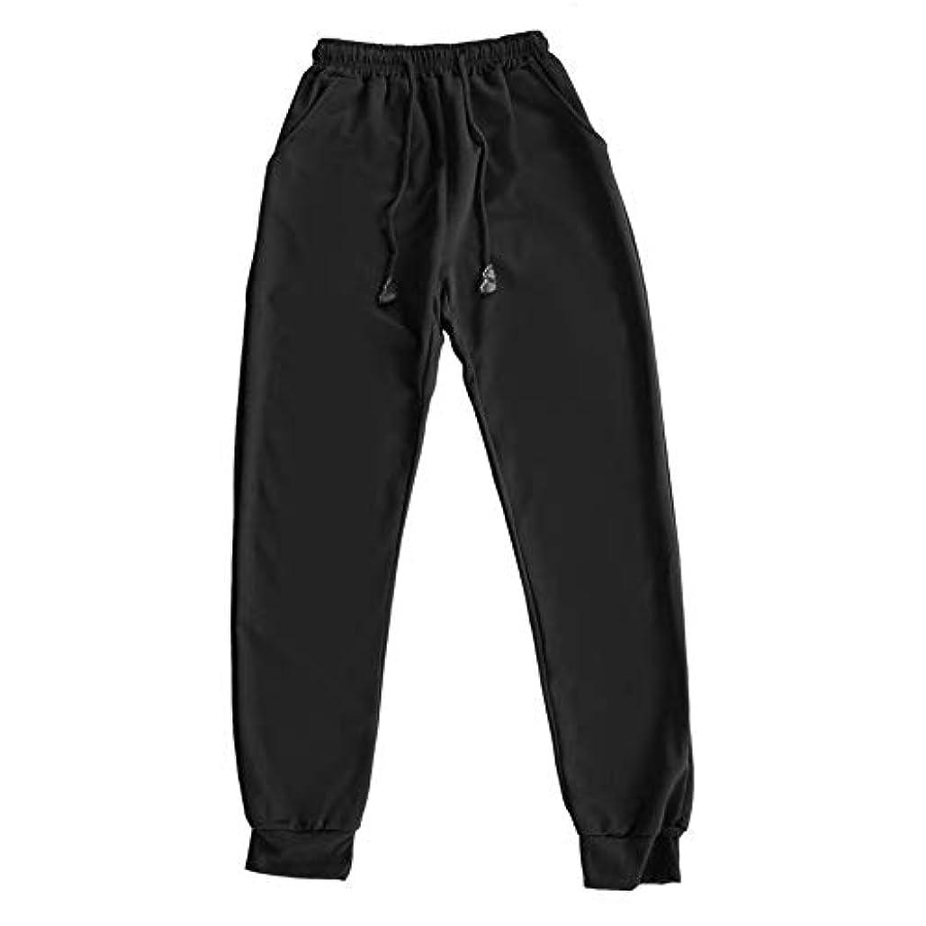 でも肥満芝生ファッションスリムフィットソフトスウェットパンツパンツ男性ヒップホップカジュアル服服人気ストリートブラックペンシルパンツ-ブラックM