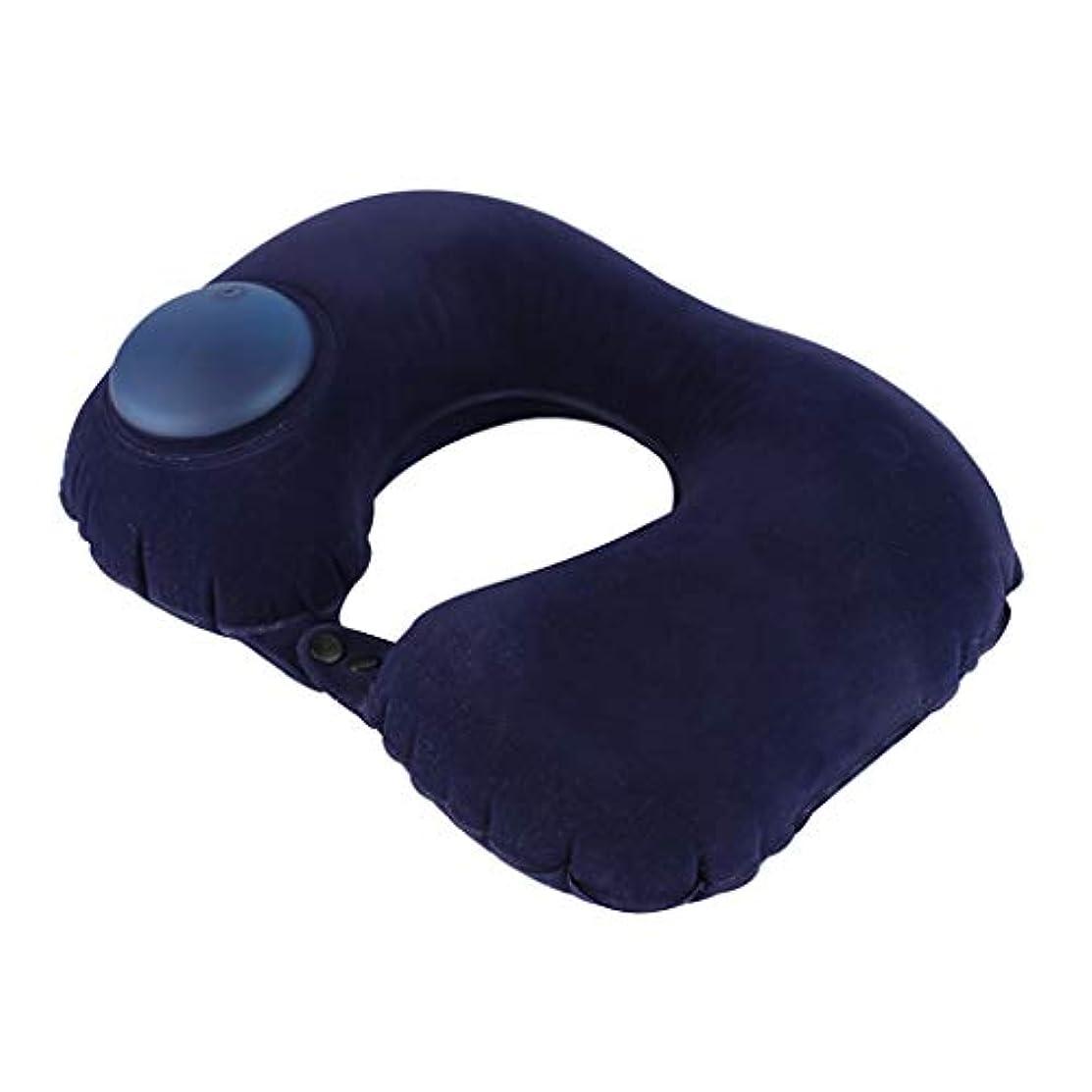 ラフレシアアルノルディ灰付添人飛行機での快適な睡眠のための自己膨脹可能な旅行首枕ネック&あごサポート枕/旅行/休憩 (色 : ブラック)
