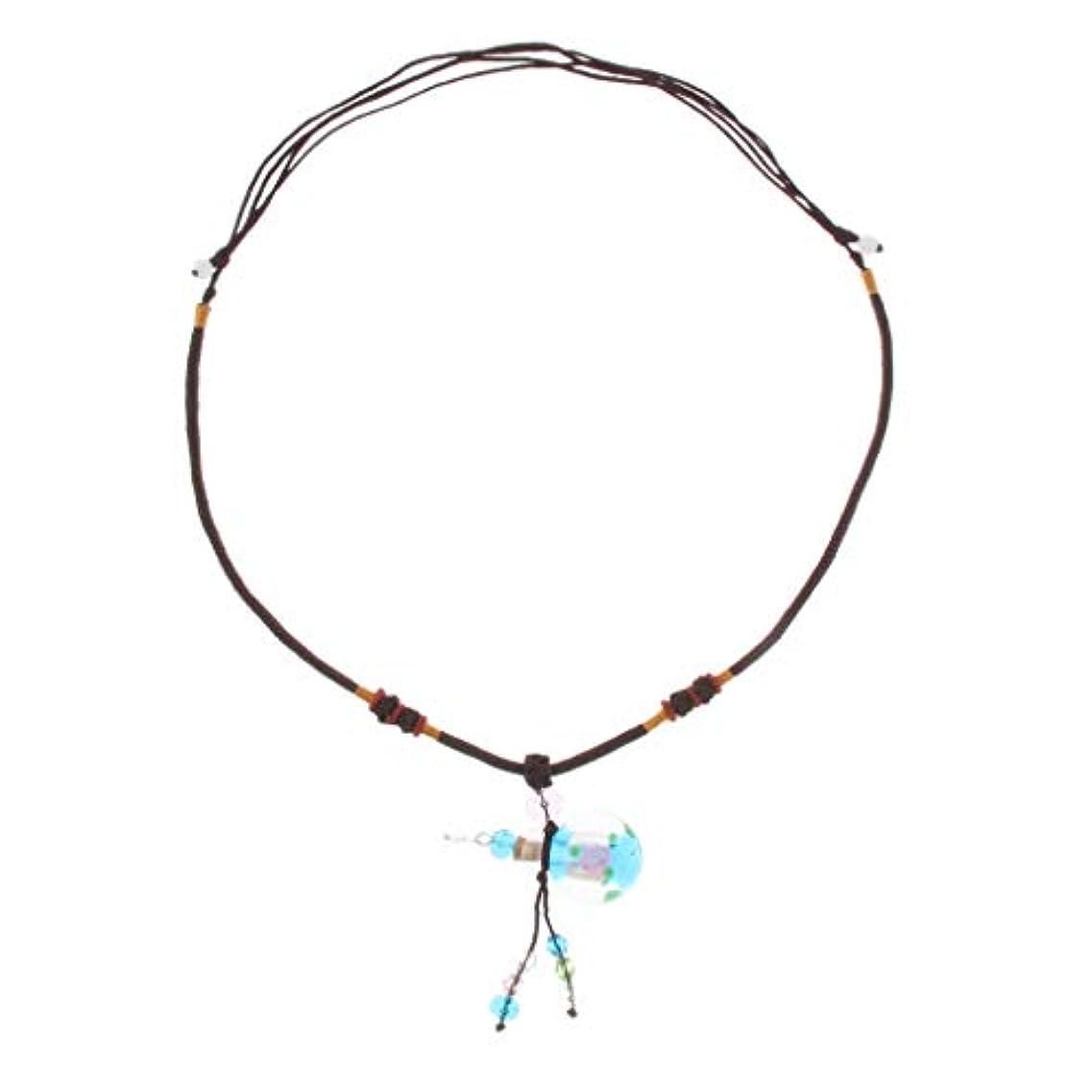 フェンスハム標準香水ネックレス ミニ グラスロケット ネックレス 香水ディフューザー 4色選べ - ライトブルー