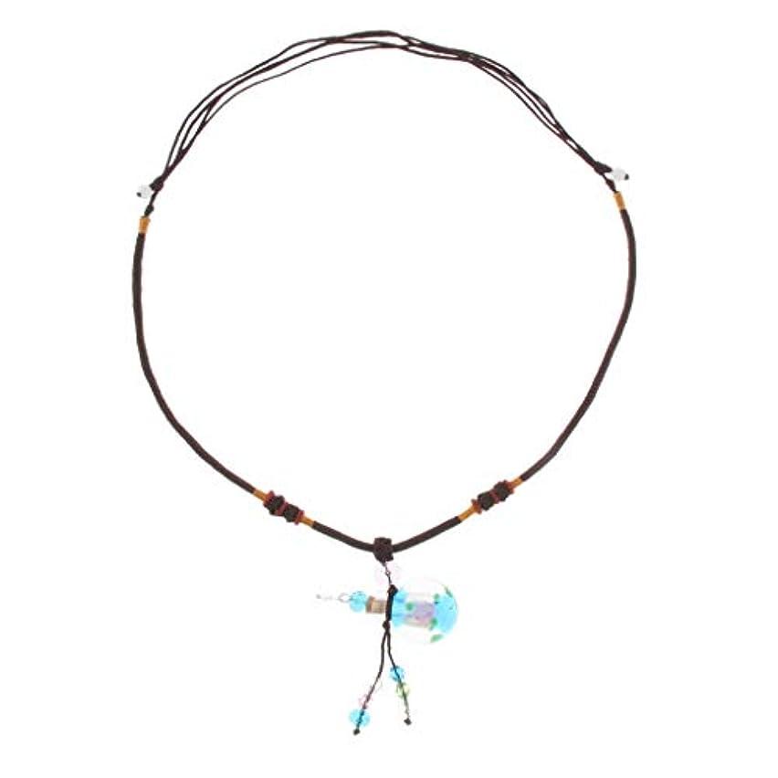 年次システム期限切れ香水ネックレス ミニ グラスロケット ネックレス 香水ディフューザー 4色選べ - ライトブルー