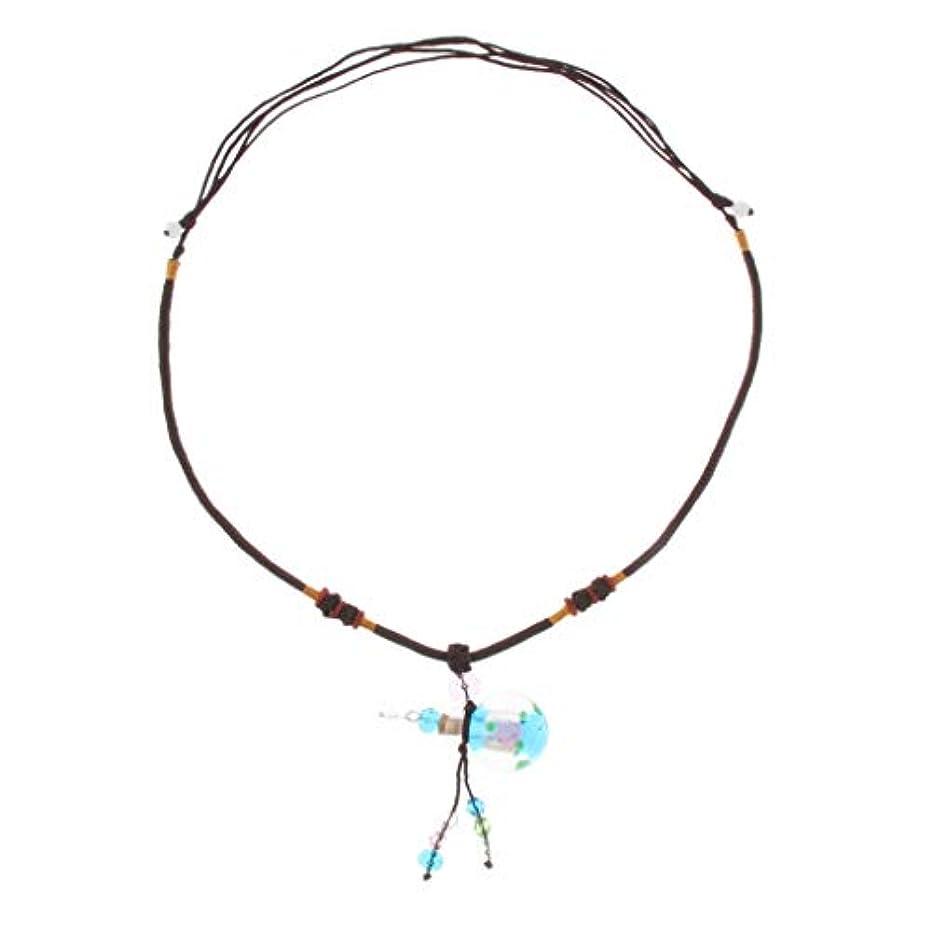 説教する実行可能必要とする香水ネックレス ミニ グラスロケット ネックレス 香水ディフューザー 4色選べ - ライトブルー