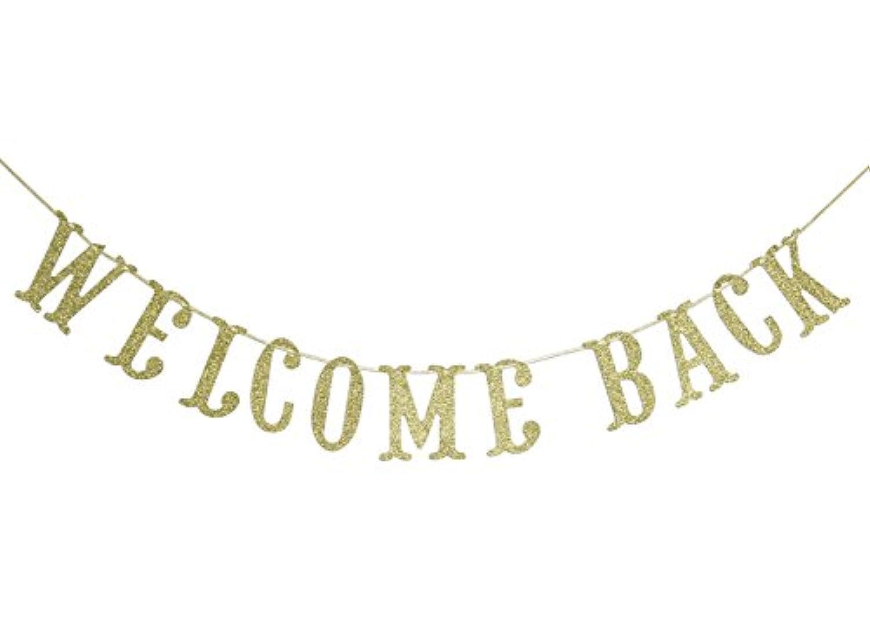 Welcome Backゴールドキラキラ校庭のバナー教室最初の日学校の先生バナー装飾ホームパーティーSupplies筆記体Bunting写真ブース小道具Sign