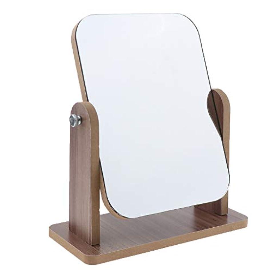 猟犬取り付け始まりPerfeclan 60度回転 片面 高精細 木製フレーム 卓上化粧鏡 寝室 居間 寮化粧鏡 鏡 ミラー 全3サイズ - 中