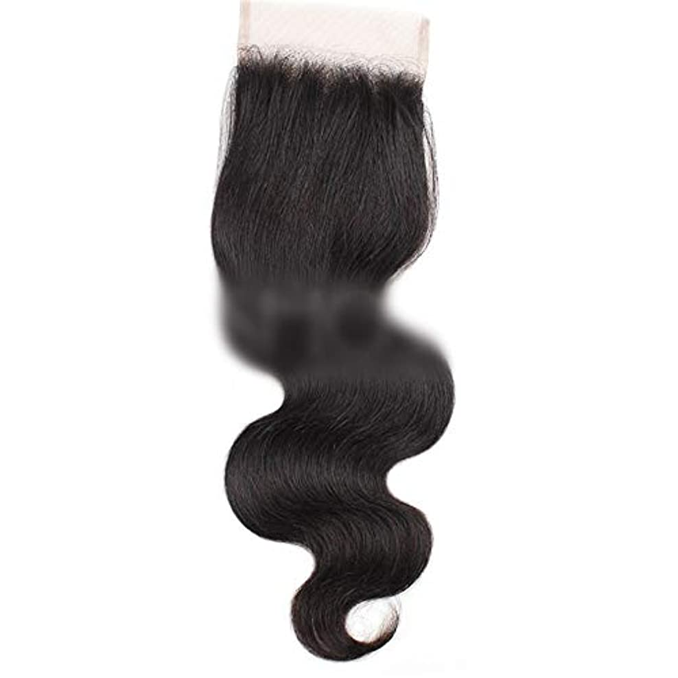 体操符号吸い込むHOHYLLYA 7aバージンブラジル人間の髪の毛自由な部分実体波4×4レース閉鎖ロールプレイングかつら女性のかつら (色 : 黒, サイズ : 10 inch)
