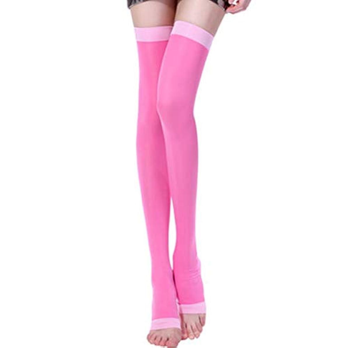 リハーサル累積単にOneHealth 最新モデル 楽やせ第2世代 美脚ソックス 寝ながらレッグスリマー ロングサイズ (ピンク L)