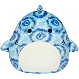 """KellyToy Squishmallows 16"""" Luther The Tie Dyed Blue Shark Plush Pillow Stuffed Toy"""