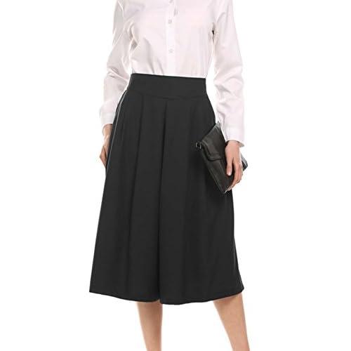 Zeagoo(ジアグー) ガウチョパンツ レディース スカーチョ スカート見え ワイドパンツ タックスカンツ ロングパンツ 通勤 カジュアル シンプル 美ライン 大きいサイズ