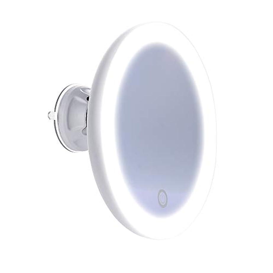うっかりシャーク葬儀化粧鏡 5倍拡大鏡 LED化粧鏡 浴室鏡 卓上鏡 吸盤ロック付き 壁掛けメイクミラー 360度回転スタンドミラー コンパクト 携帯 コードレス 乾電池式 家庭 浴室 旅行