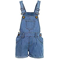 Elonglin Kids Girls Boys Dungaree Shorts Denim Stretch Jeans Jumpsuit Playsuit Casual Soft Denim Overalls Rompers