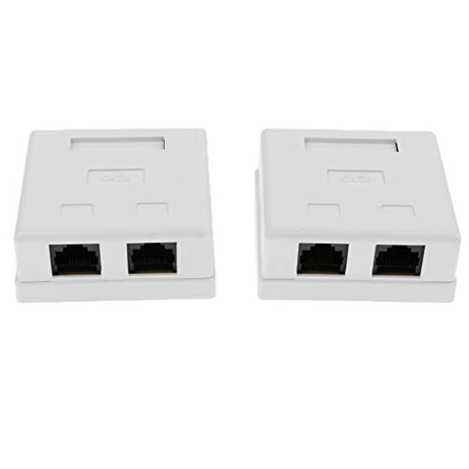 気を散らす旅呼ぶH HILABEE 2x Cat6ダブルポート表面実装コンセントボックスrj45フェイスプレートバックボックスコンボ