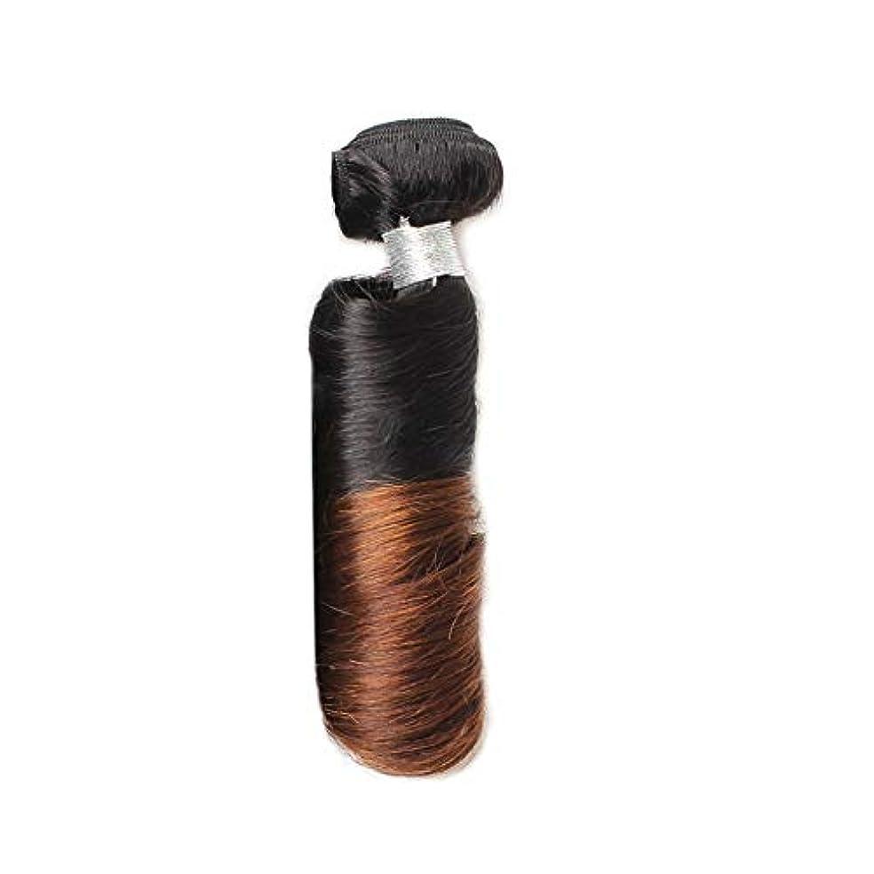 彼女自身日の出補助金WASAIO ブラジル人毛織り閉鎖ボディー春カーリー1バンドル - ブラックブラウン2トーン色拡張機能12に「-24」 (色 : ブラウン, サイズ : 14 inch)