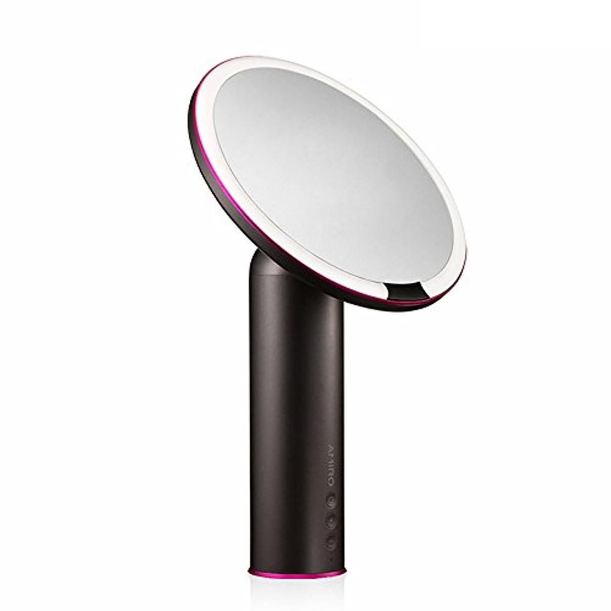 生き返らせるマグ比率AMIRO LED化粧鏡 人感センサー付き 化粧ミラー LEDライト付き 卓上鏡 女優ミラー 3段階明るさ調節可能 コードレス 充電式