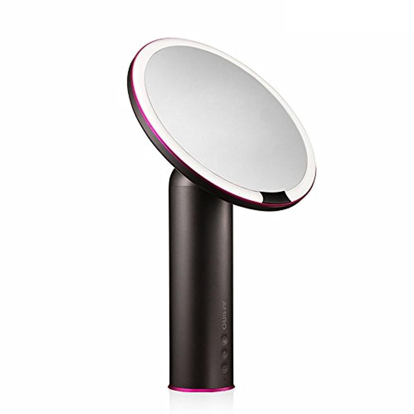 ピンク肖像画子猫AMIRO センサー化粧鏡 化粧ミラー LEDライト付き 卓上鏡 女優ミラー 3段階明るさ調節可能 コードレス 充電式
