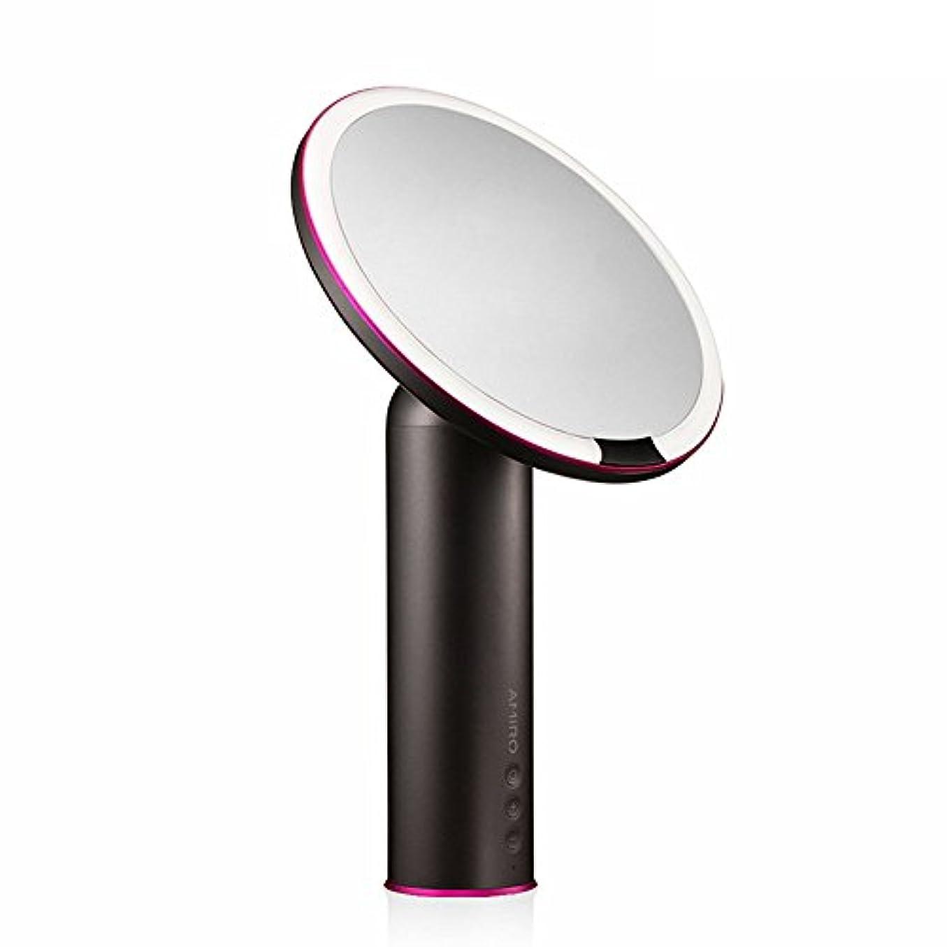 鑑定キャンバスブレーキAMIRO センサー化粧鏡 化粧ミラー LEDライト付き 卓上鏡 女優ミラー 3段階明るさ調節可能 コードレス 充電式