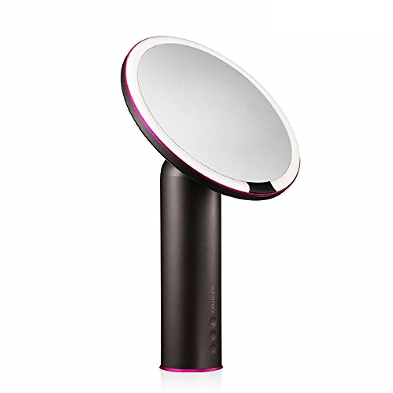 許可相互接続日焼けAMIRO センサー化粧鏡 化粧ミラー LEDライト付き 卓上鏡 女優ミラー 3段階明るさ調節可能 コードレス 充電式