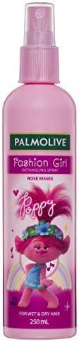 Palmolive Kids Trolls Fashion Girl Hair Detangling Spray Rose Kisses For Wet & Dry Hair Trolls Poppy Made