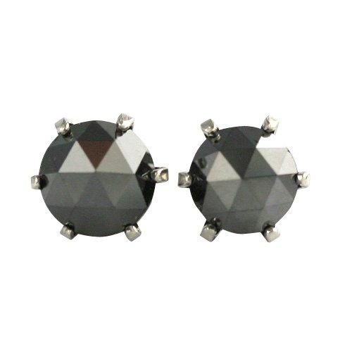 【 DIAMOND WORLD 】レディース ジュエリー PT900 ローズカット ブラックダイヤモンド ピアス 0.9ct 6本爪タイプ