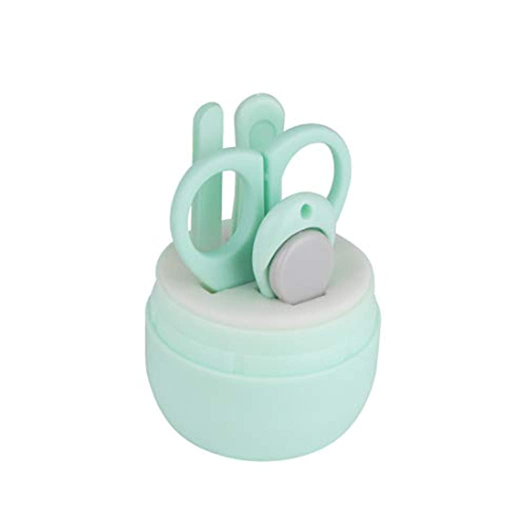 Kerwinner 漫画くまの爪切りステンレス鋼の赤ん坊の釘用具セット赤ん坊の美用具セット4赤ん坊のマニキュア用具、各パックのための1 (Color : Green)