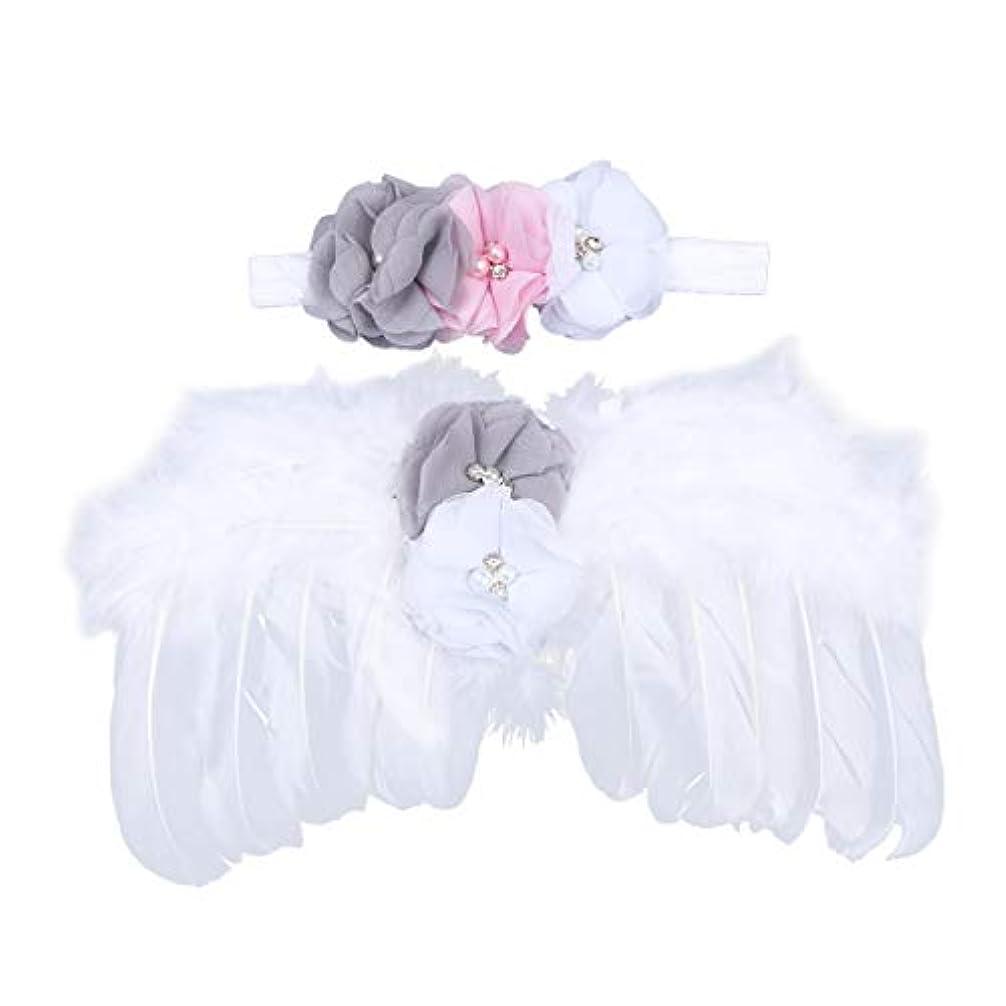 積分非難するフレームワークNUOBESTY 生まれたばかりの赤ちゃんの写真の小道具羽天使の羽と花のヘッドバンドセット赤ちゃん髪アクセサリー写真小道具衣装(白)