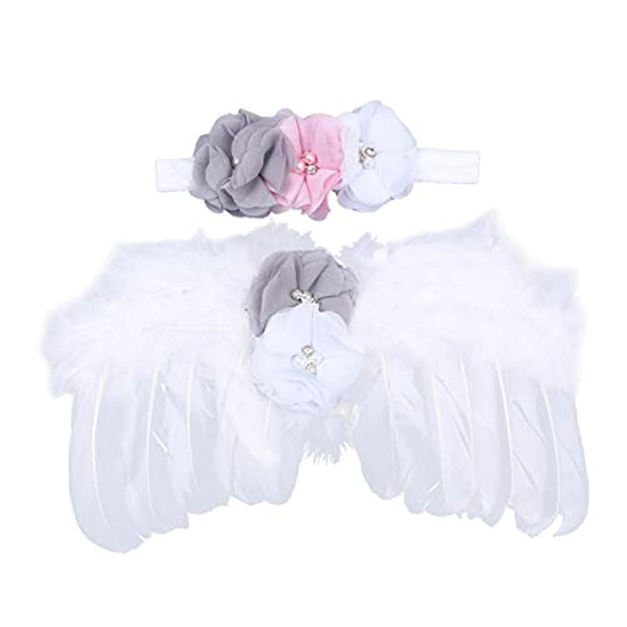 リー省略する範囲NUOBESTY 生まれたばかりの赤ちゃんの写真の小道具羽天使の羽と花のヘッドバンドセット赤ちゃん髪アクセサリー写真小道具衣装(白)