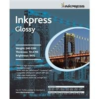 Inkpress光沢, Single Sidedグロスサーフェスインクジェット用紙、240gsm、10.4Mil。、12x 12インチ、50シート