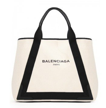 バレンシアガ BALENCIAGA トートバッグcotton canvas and calfskin tote bagポーチ付き