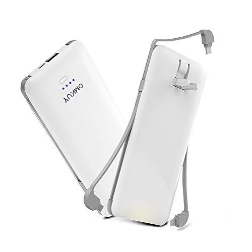 モバイルバッテリー 折り畳みプラグ搭載 大容量 10000mAh 3ケーブル内蔵 2USBポート スマホ充電器 急速充電 軽量 薄型 iPhone&iPad&Android各種対応