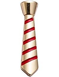 KnighthoodメンズMetalic Gold Tie withレッドストライプラペルピン/シャツスタッドゴールド&レッド