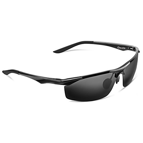 Glazata 偏光サングラス UV400 紫外線カット 超軽量 メタルフレームスポーツサングラス 跳ね上げ式 前掛けクリップ式サングラス ドライブ/野球/自転車/釣り/ランニング/ゴルフ/運転 男女兼用 変色調光偏光グラス