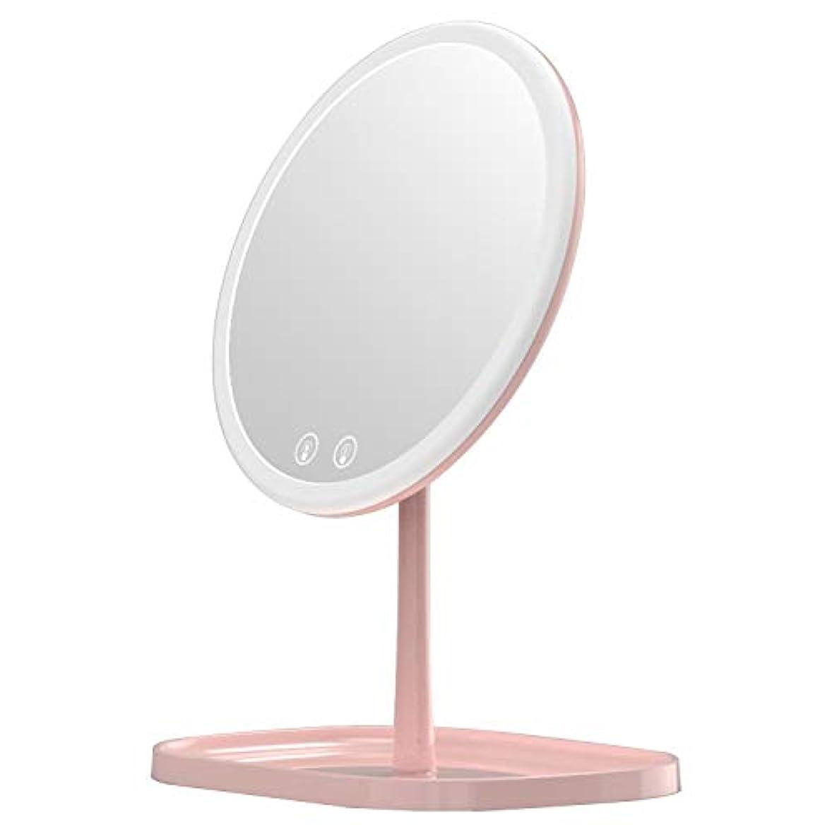 モードリン変化するバルブMouyor 化粧鏡***化粧鏡充電式LED、1 x / 5 x拡大、5倍拡大鏡 LEDライト付き 卓上鏡 3色の照明モード(ピンク)