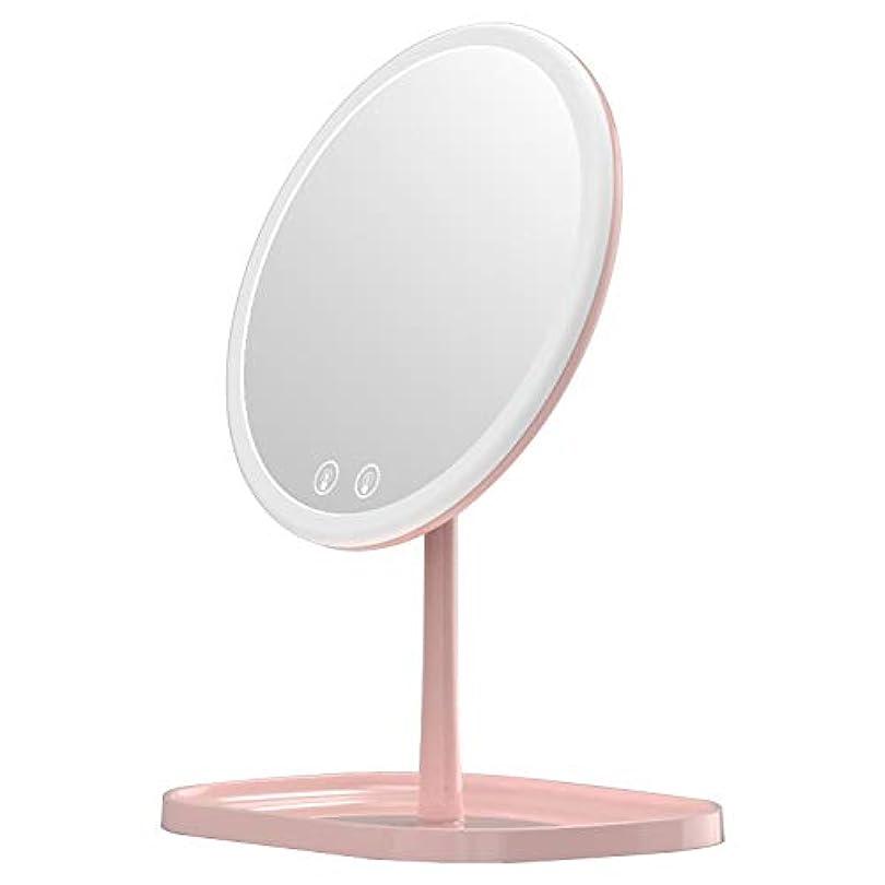 ハンバーガー求めるティーンエイジャーMouyor 化粧鏡***化粧鏡充電式LED、1 x / 5 x拡大、5倍拡大鏡 LEDライト付き 卓上鏡 3色の照明モード(ピンク)