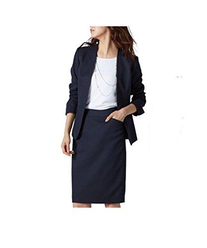 (ニッセン) nissen スカートスーツ 洗える 上下 セット (ノーカラージャケット Vライン + タイトスカート) 変り織 レディース 濃紺 7号