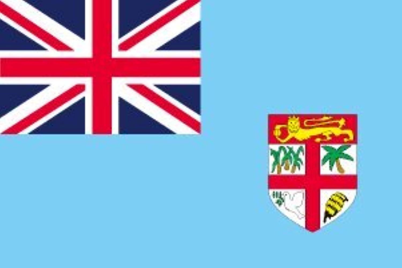 世界の国旗 フィジー諸島 国旗 ポータブルフラッグ [ 25×37.5cm ポール付き手旗 高級テトロン製 ]