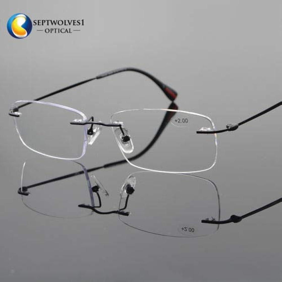 平方またはどちらか性的FidgetGear 新しいβチタン縁なし老眼鏡UV400コーティングレンズリーダー+0.00?+ 5.00 ブラック