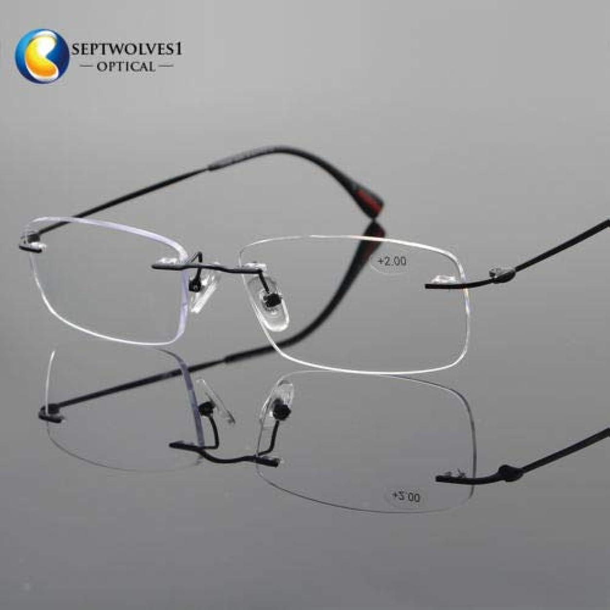 FidgetGear 新しいβチタン縁なし老眼鏡UV400コーティングレンズリーダー+0.00?+ 5.00 ブラック