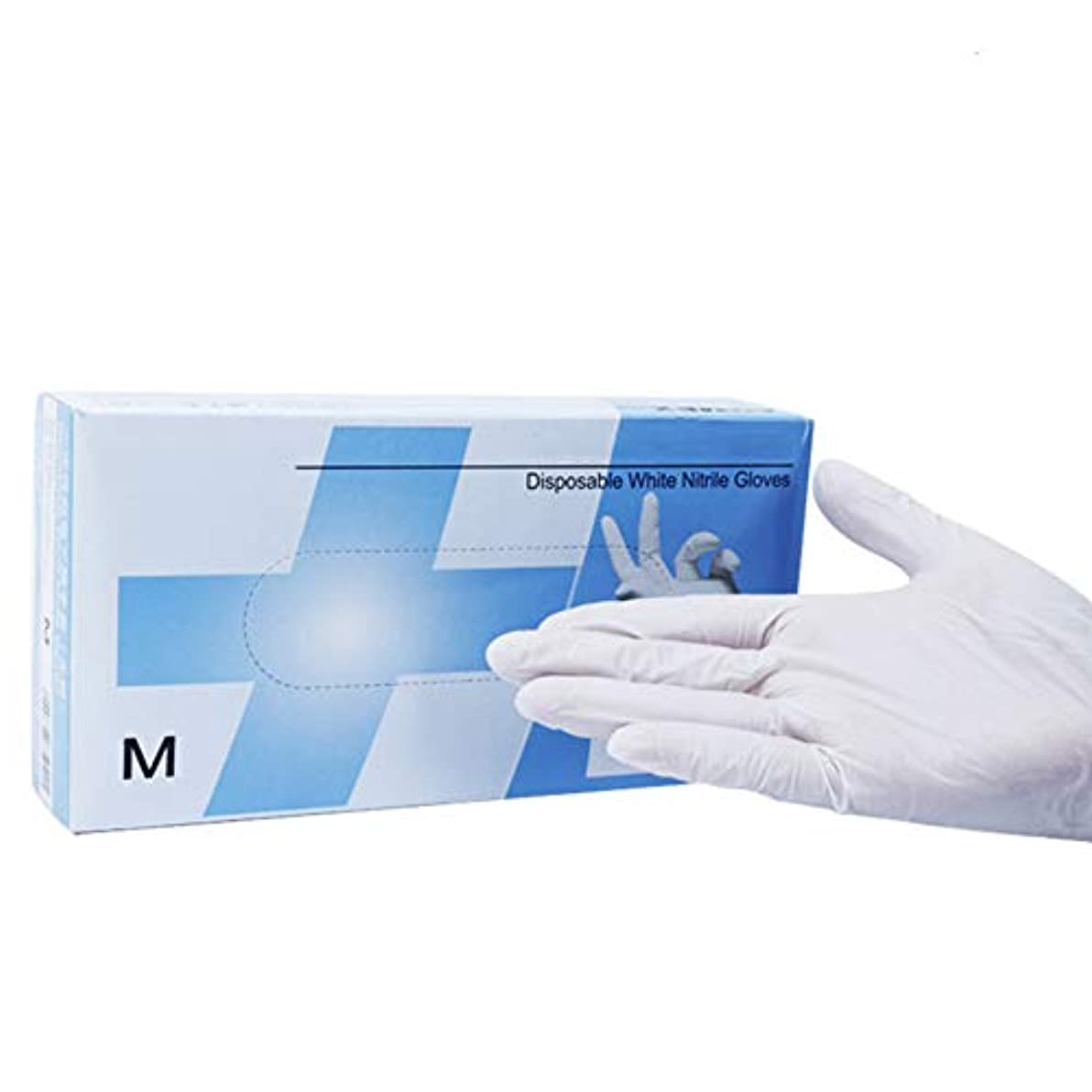 光グリース租界パウダーフリー 生殖不能 メディカル 白 ニトリル 手袋、 使い捨て 安全性 滑り止め ビニール 検査 グローブ、 に適し クリーニング、 食品加工、 (100個/ 1箱),M