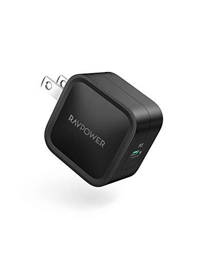 RAVPower USB-C 急速充電器 (30W 最小クラス PD対応)【GaN (窒化ガリウム)採用/折畳式/PSE認証済】iPhone 11/11 Pro/XR/8、GalaxyS10、MacBook、iPad Pro、Nintendo Switchその他USB-C機器対応 RP-PC120(ブラック)