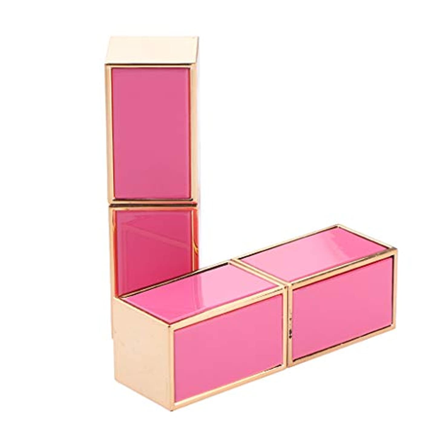 モッキンバード見かけ上後2本 空の口紅チューブ リップクリームチューブ 正方形 - ピンク