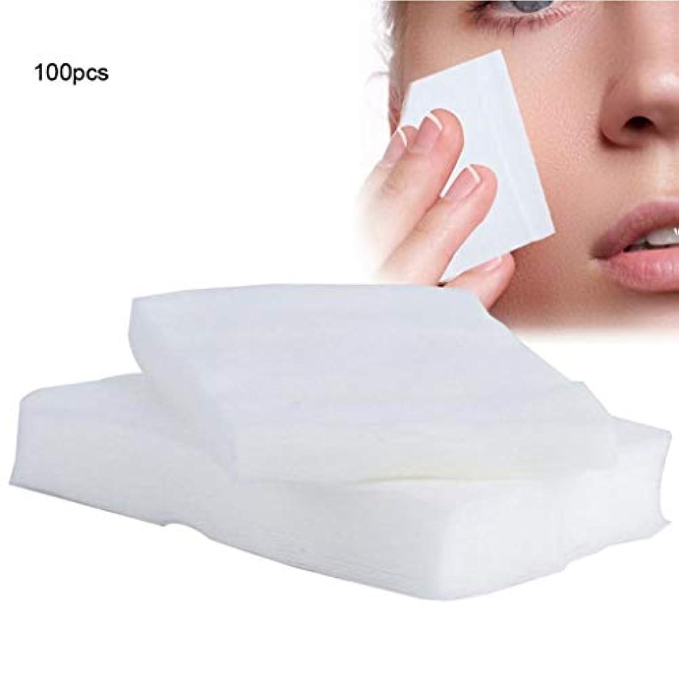 ひどく染色ファイナンスクレンジングシート 100ピース化粧コットンパッド使い捨て化粧品リムーバーソフトフェイシャルクレンジングワイプペーパータオルメイクアップリムーバーワイプ (Color : White, サイズ : 6*7cm)