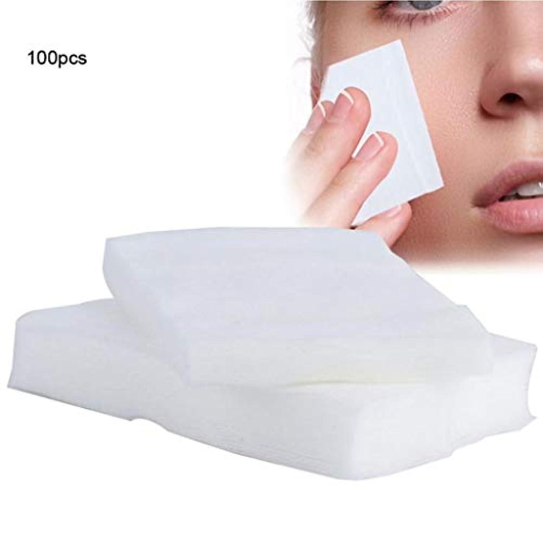 ホラー等リンケージクレンジングシート 100ピース化粧コットンパッド使い捨て化粧品リムーバーソフトフェイシャルクレンジングワイプペーパータオルメイクアップリムーバーワイプ (Color : White, サイズ : 6*7cm)
