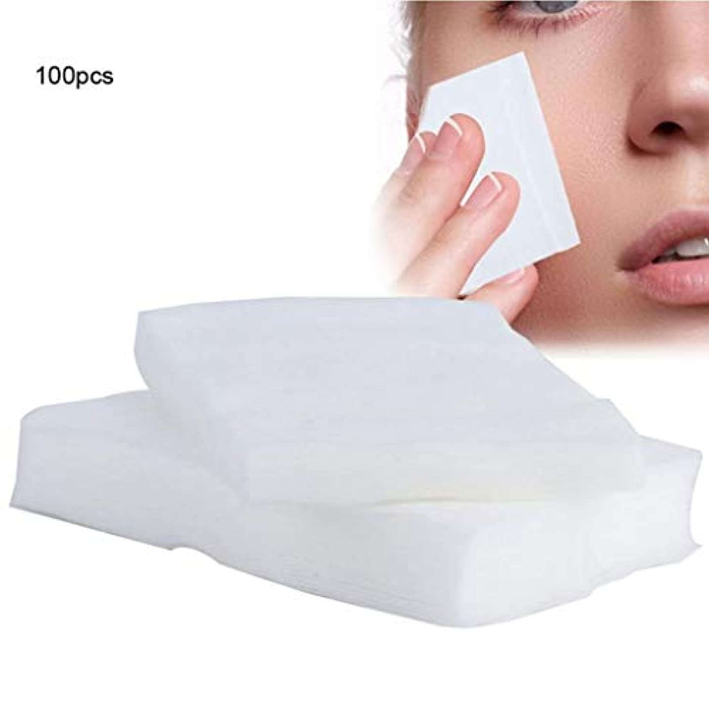 謙虚な崖ナイロンクレンジングシート 100ピース化粧コットンパッド使い捨て化粧品リムーバーソフトフェイシャルクレンジングワイプペーパータオルメイクアップリムーバーワイプ (Color : White, サイズ : 6*7cm)