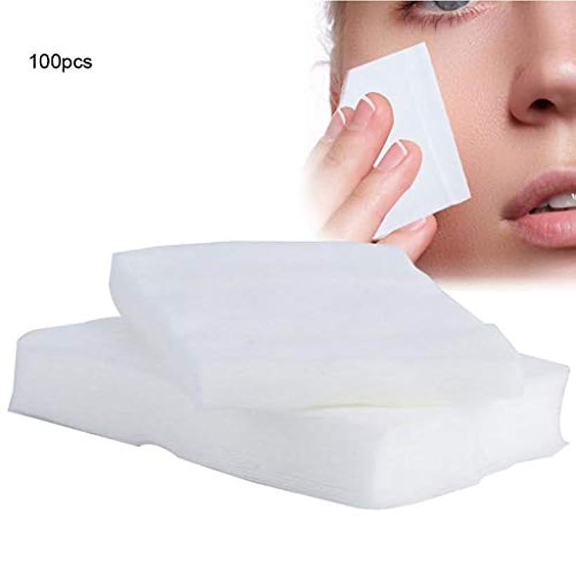 クレンジングシート 100ピース化粧コットンパッド使い捨て化粧品リムーバーソフトフェイシャルクレンジングワイプペーパータオルメイクアップリムーバーワイプ (Color : White, サイズ : 6*7cm)