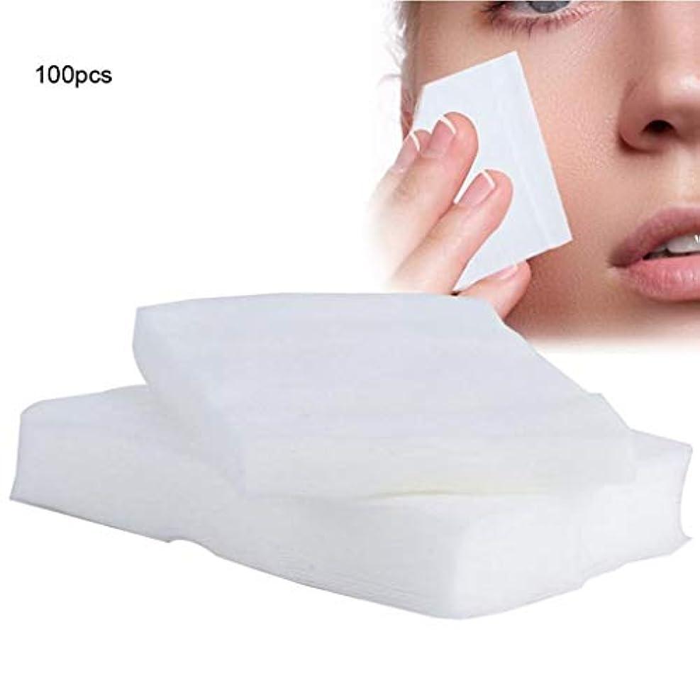 グラディスプロット維持クレンジングシート 100ピース化粧コットンパッド使い捨て化粧品リムーバーソフトフェイシャルクレンジングワイプペーパータオルメイクアップリムーバーワイプ (Color : White, サイズ : 6*7cm)