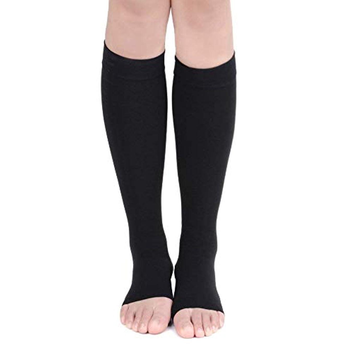 最小化する雨軽量EagleUS Knee High Compression Socks for Men Women 20-30mmHg Open Toe Stockings (XL, Black) by EagleUS(CA Seller)