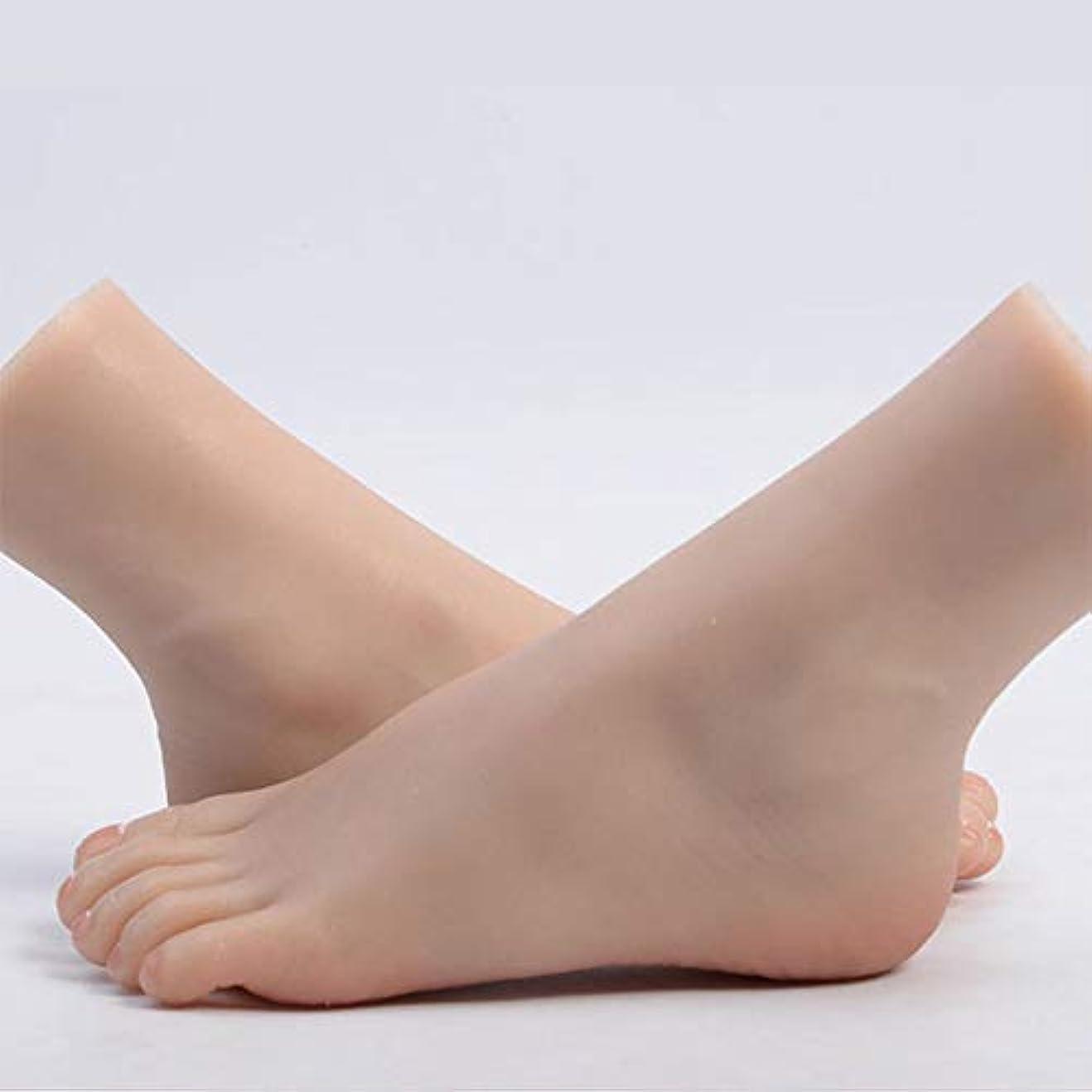 現金第九タール足モデル、現実的な女性ネイルアートの練習の足マネキン足モデルシューズソックスジュエリーディスプレイ、1ペア,Bone