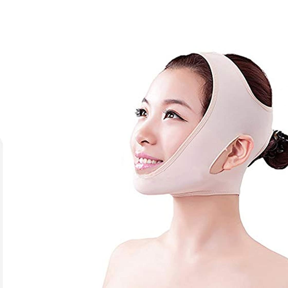 すり減る拒否でる顔面顔マスク v 顔リフトリフティング引き締め睡眠ライン刻まれた顔包帯,L